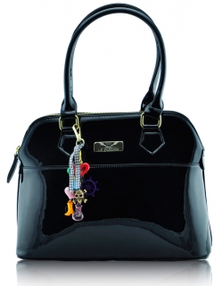 Kabelka  LS6001 - Black Patent Tote Fashion Handbag