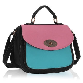 Kabelka LS FASHION LS00238A - Black / Pink / Blue Twist Lock Satchel