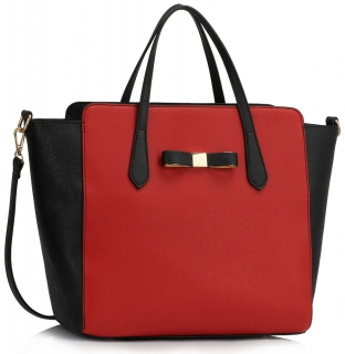 Kabelka LS00402 - Black / Red Women's Large Tote Bag