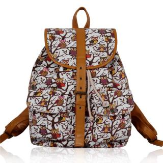 Batoh LS00269A - White Owl Print Rucksack Bag - Canvas