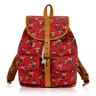 Batoh LS00269A - Red Owl Print Rucksack Bag - Canvas