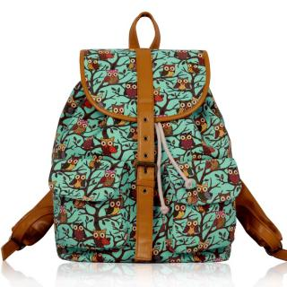 Batoh LS00269A - Blue Owl Print Rucksack Bag - Canvas