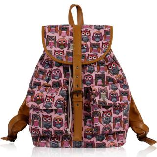 Batoh LS00269C - Peach Owl Print Rucksack Bag - Canvas