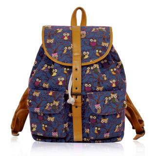 Batoh LS00269C - Navy Owl Print Rucksack Bag - Canvas
