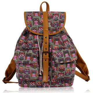 Batoh LS00269C - Grey Owl Print Rucksack Bag - Canvas