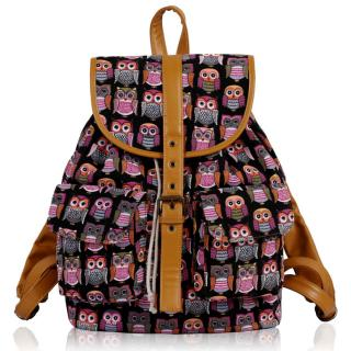 Batoh LS00269C - Black Owl Print Rucksack Bag - Canvas
