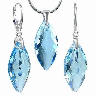 Stříbrná souprava Navette 30mm - Aquamarine CRYSTALLIZED™ – Swarovski Elements L